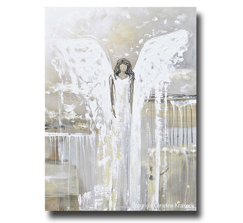 Print Abstract Angel Painting Guardian Angel Art Neutral Home Decor ...