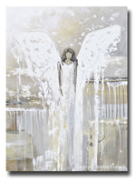 ORIGINAL Abstract Angel Painting Fine Art Guardian Angel Grey White Cream Neutral Home Wall Decor X Large 36x48""
