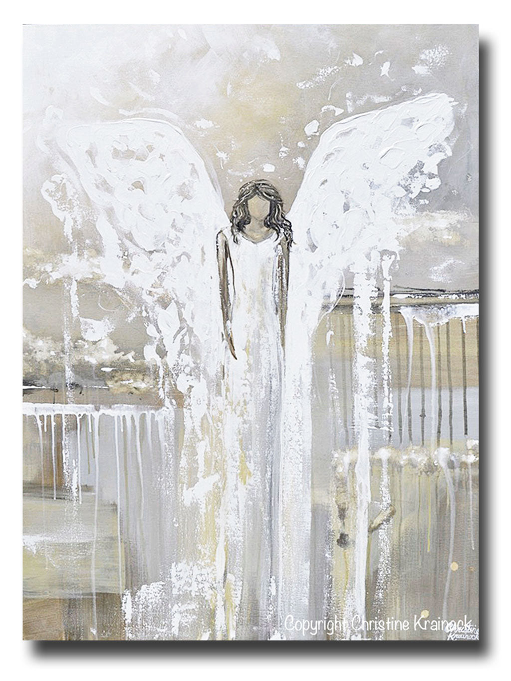 Print Abstract Angel Painting Guardian Angel Art Neutral Home Decor