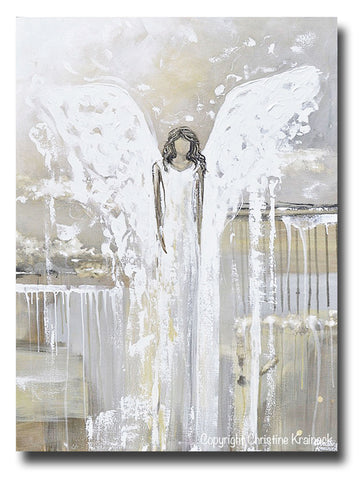 GICLEE PRINT Abstract Angel Painting Fine Art Guardian Angel Grey White Cream Neutral Modern Home Wall Decor