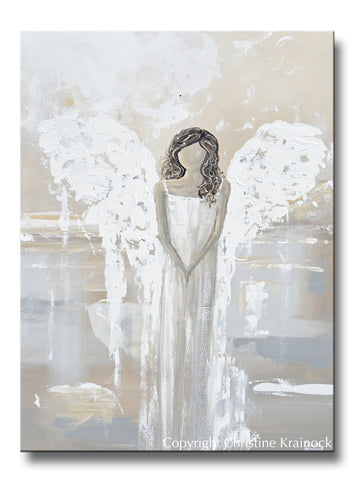 ORIGINAL Abstract Angel Painting Fine Art Guardian Angel White Grey Cream Neutral Home Wall Decor XL 36x48""
