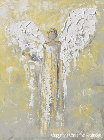 Original angel painting abstract gold grey guardian angel for Angel paintings for sale