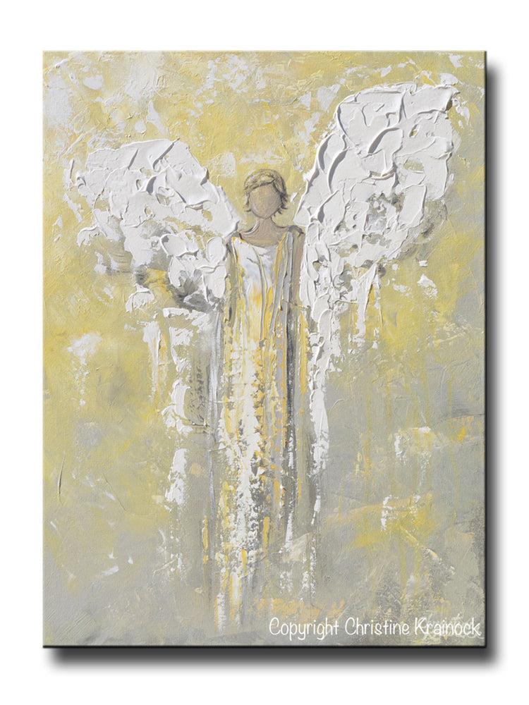 GICLEE PRINT Angel Painting Gold Grey Abstract Guardian Angel Inspirational Home Wall Art Canvas