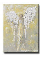 ORIGINAL Angel Painting Gold Grey Abstract Guardian Angel Textured Inspirational Home Wall Art - Christine Krainock Art - Contemporary Art by Christine - 1