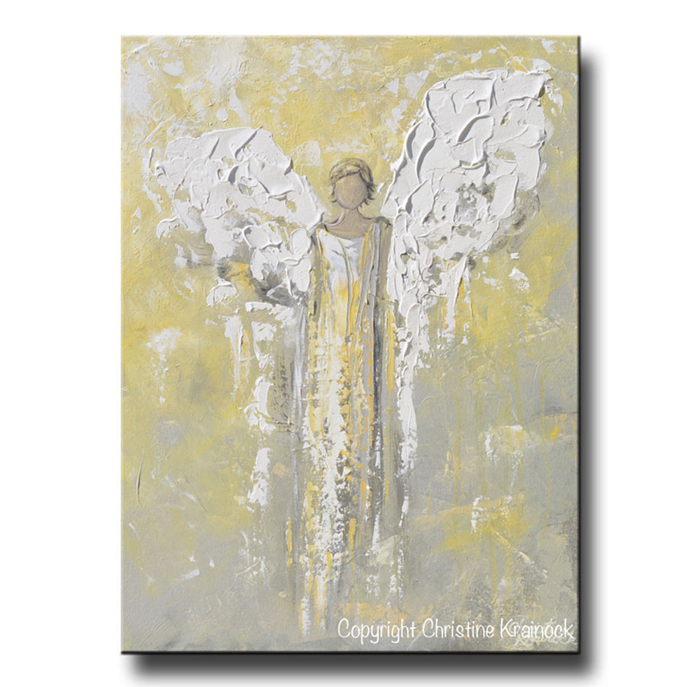 ORIGINAL Angel Painting Gold Grey Abstract Guardian Angel Textured Inspirational Home Wall Art - Christine Krainock Art - Contemporary Art by Christine - 3