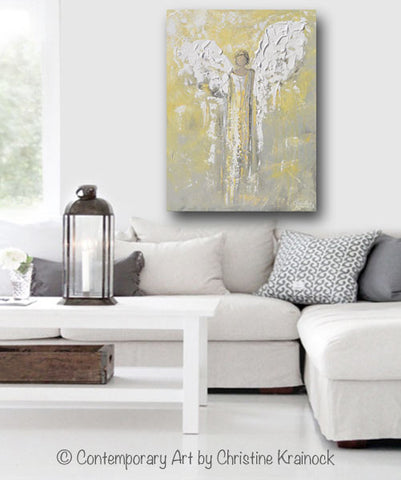 Angel Painting Abstract Gold Grey Guardian Angel Home Wall Art ...