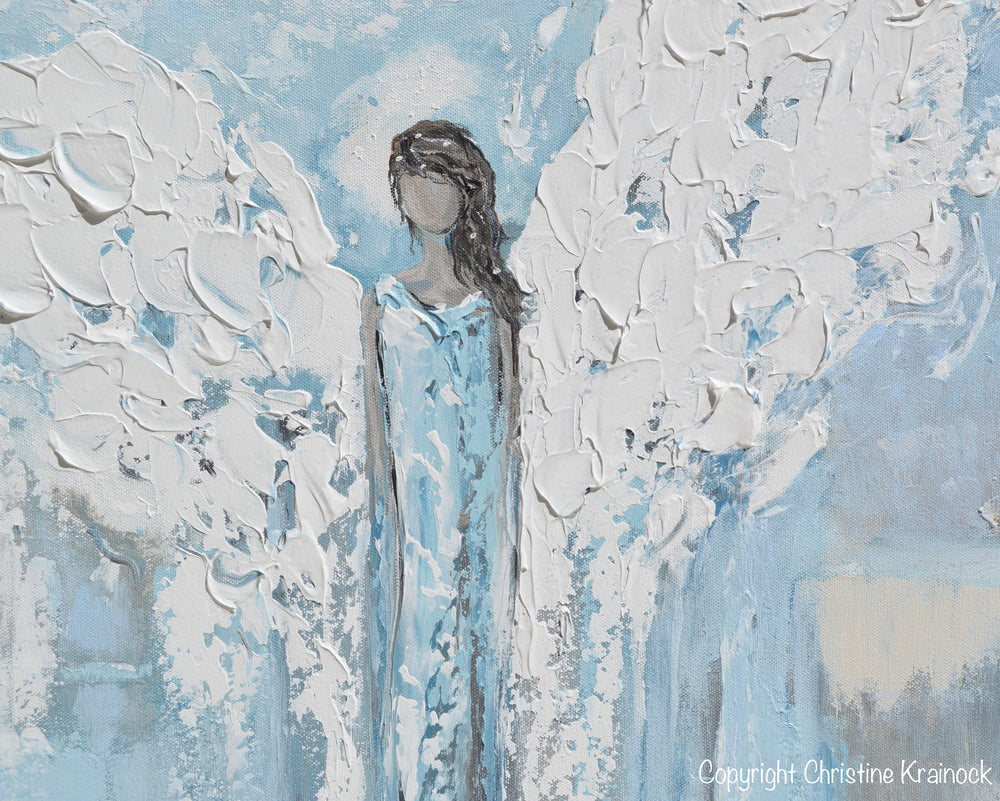 GICLEE PRINT Angel Painting Abstract Light Blue Guardian Angel Home Decor Spiritual Wall Art Canvas Print