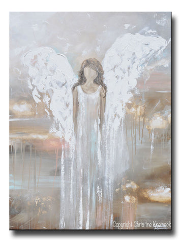 GICLEE PRINT Abstract Angel Painting Fine Art Contemporary Guardian Angel Neutral Home Canvas Wall Art