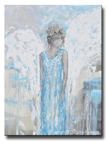 ORIGINAL Abstract Angel Painting Guardian Angel Wings Textured Blue White Grey Home Decor Wall Art X Large 30x40""