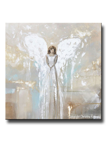 ORIGINAL Art Angel Painting Fine Art Abstract Guardian Angel Grey White Cream Beige Modern Home Wall Decor Large 36x36""