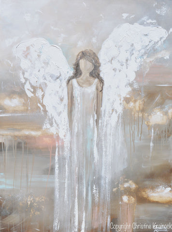 Neutral Wall Decor art abstract angel painting guardian angel heaven canvas print