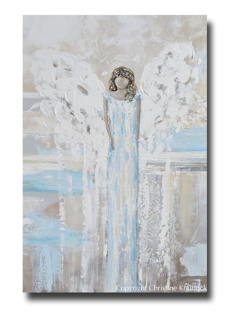 SPECIAL RELEASE GICLEE PRINT Abstract Angel Painting LOVING ANGEL White Blue  Grey Cream Decor