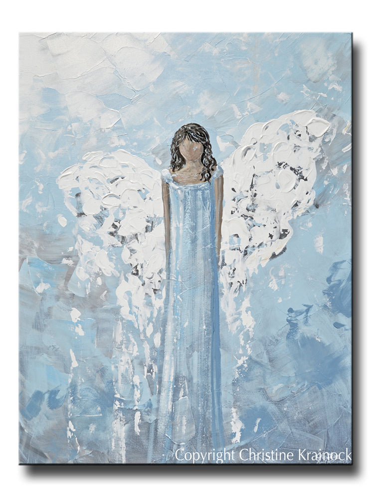 ORIGINAL Abstract Angel Painting Spiritual Art Blue Grey White Textured Home Wall Decor 30x40""