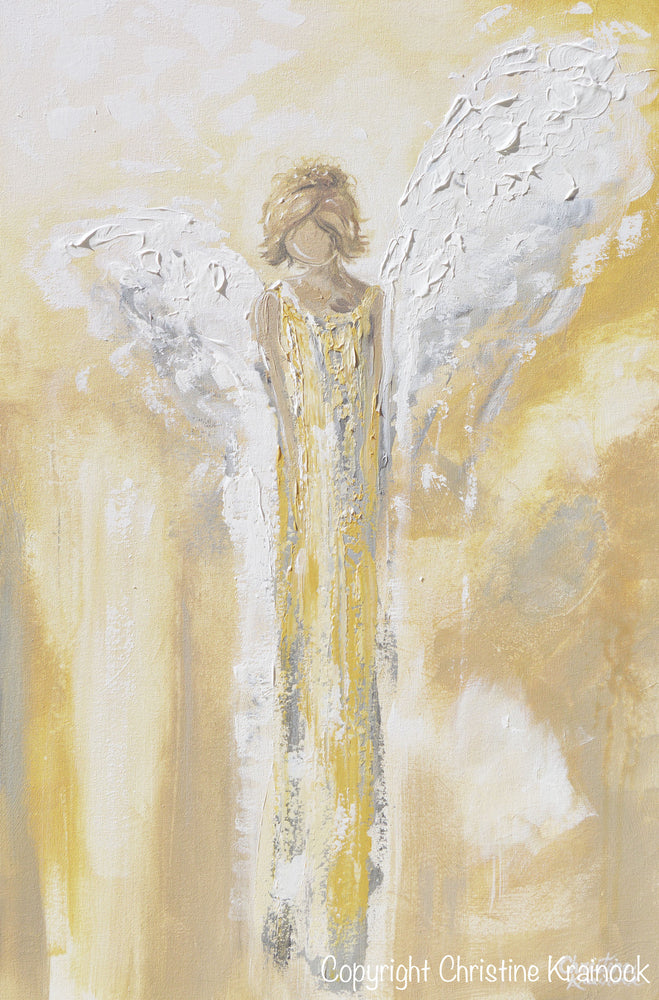 GICLEE PRINT Art Angel Painting Gold Grey White Abstract Guardian Angel Modern Home Wall Art Large - Christine Krainock Art - Contemporary Art by Christine - 5