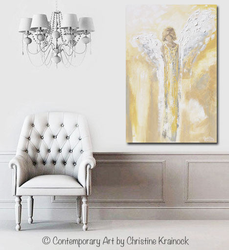 GICLEE PRINT Art Angel Painting Gold Grey White Abstract Guardian Angel Modern Home Wall Art Large - Christine Krainock Art - Contemporary Art by Christine - 4