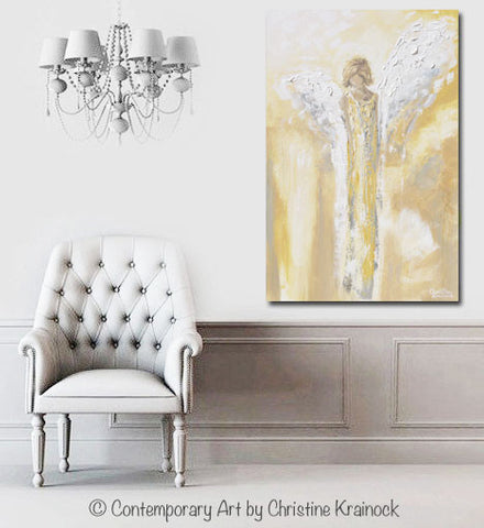 Giclee Print Angel Painting Abstract Gold Grey Guardian Angel Wall