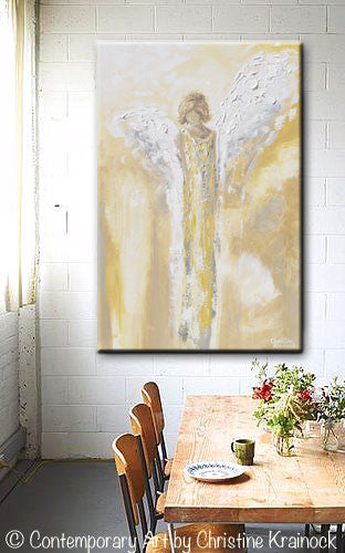 Original Angel Painting Abstract Gold Grey Guardian Angel