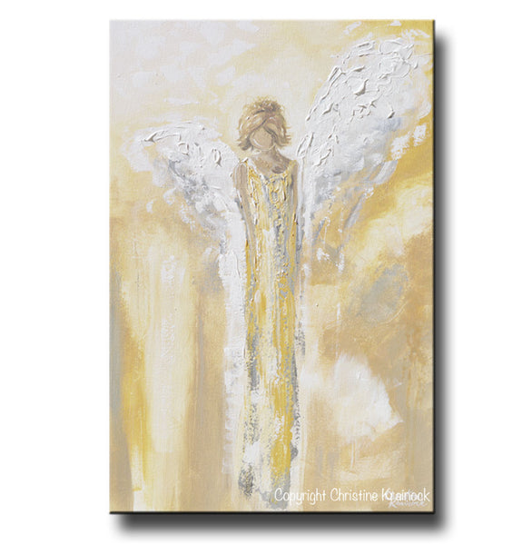 Original angel painting abstract gold grey guardian angel for Blank canvas designs wall art