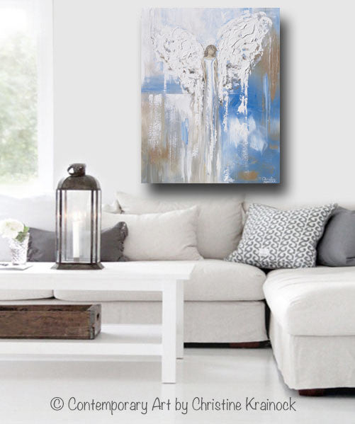 "ORIGINAL Abstract Angel Painting Textured Guardian Angel Blue White Beige Spiritual Wall Art 30x24"" - Christine Krainock Art - Contemporary Art by Christine - 4"