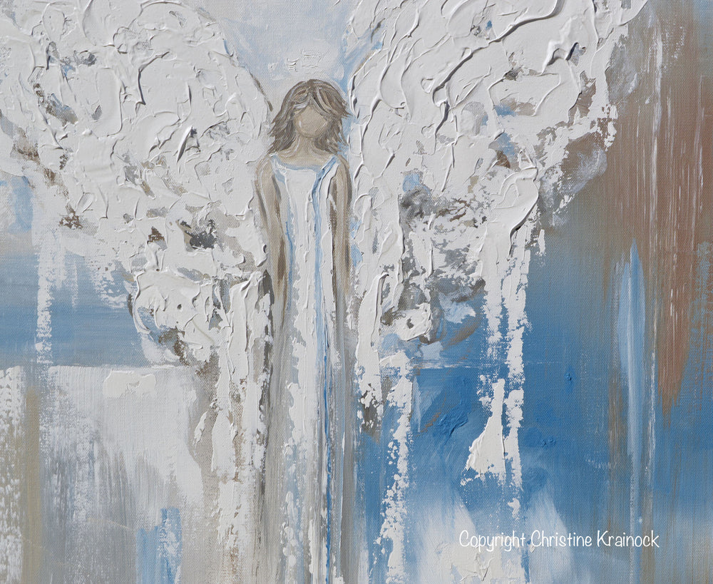 "ORIGINAL Abstract Angel Painting Textured Guardian Angel Blue White Beige Spiritual Wall Art 30x24"" - Christine Krainock Art - Contemporary Art by Christine - 5"