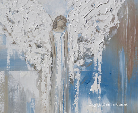 Abstract Angel Painting Canvas Print Textured Guardian Angel Blue