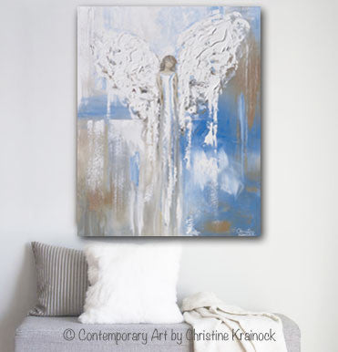 "ORIGINAL Abstract Angel Painting Textured Guardian Angel Blue White Beige Spiritual Wall Art 30x24"" - Christine Krainock Art - Contemporary Art by Christine - 2"