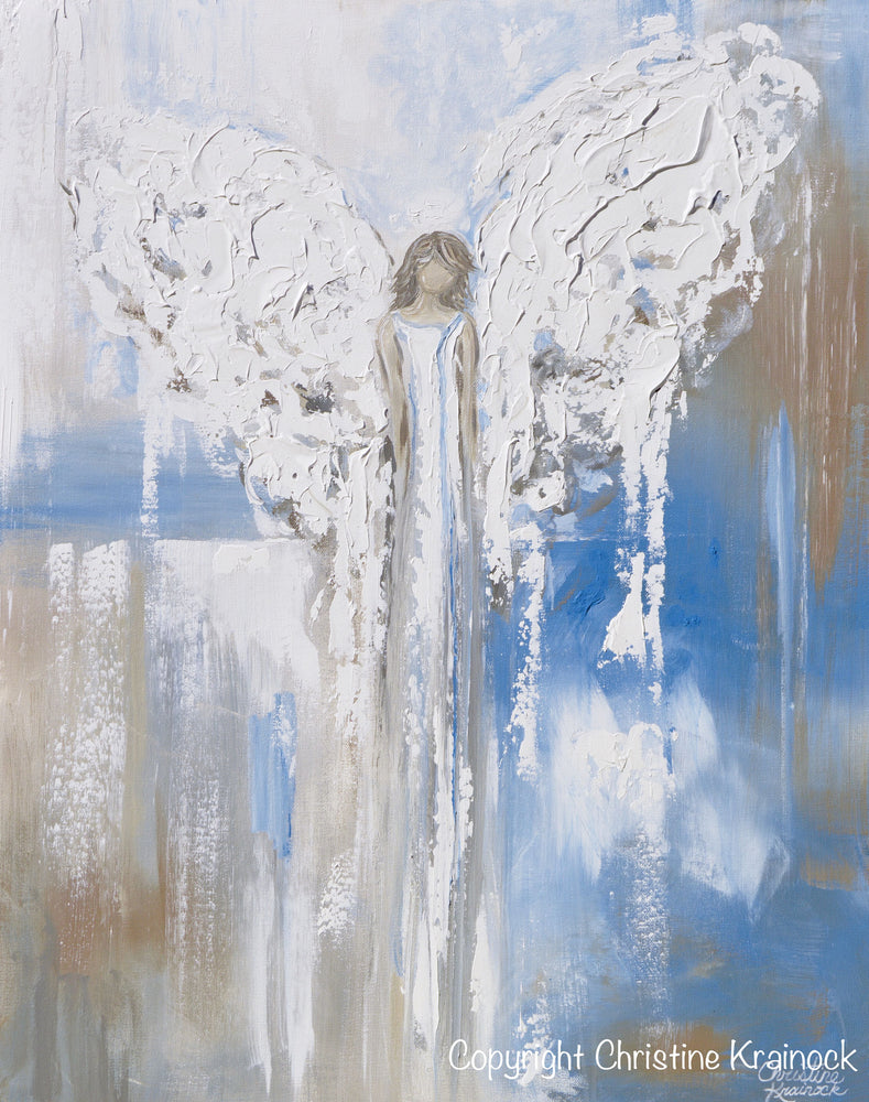 "ORIGINAL Abstract Angel Painting Textured Guardian Angel Blue White Beige Spiritual Wall Art 30x24"" - Christine Krainock Art - Contemporary Art by Christine - 6"