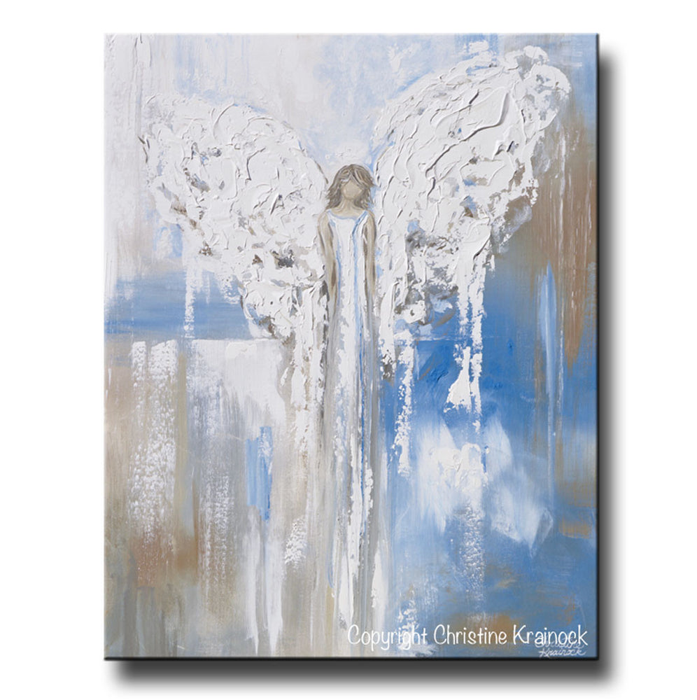 "ORIGINAL Abstract Angel Painting Textured Guardian Angel Blue White Beige Spiritual Wall Art 30x24"" - Christine Krainock Art - Contemporary Art by Christine - 3"