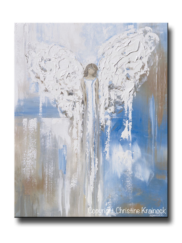 GICLEE PRINT Abstract Angel Painting Textured Guardian Angel Blue White Beige Spiritual Wall Art Canvas