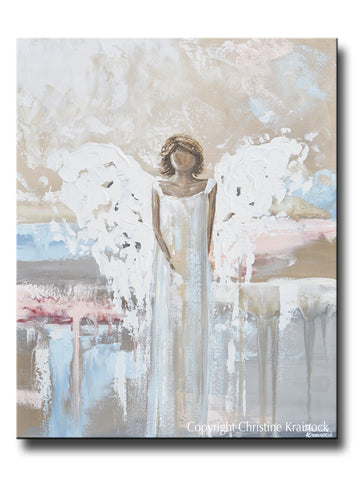 ORIGINAL Abstract Angel Painting Art Guardian Angel White Grey Blue Pink Home Wall Decor 24x30""