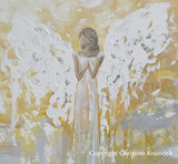 ORIGINAL Abstract Angel Painting Fine Art Gold Grey White Spiritual Angels Home Decor 30x40""