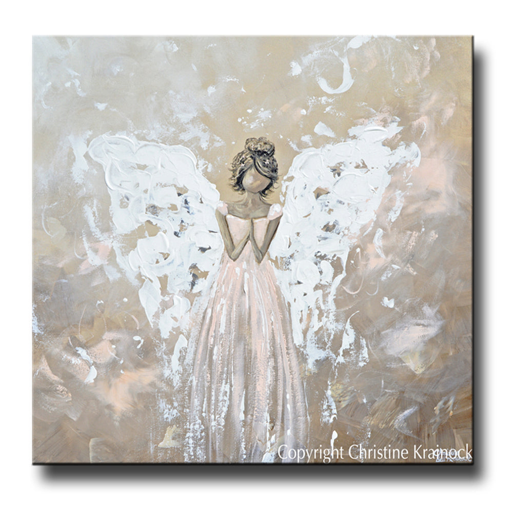 SPECIAL RELEASE GICLEE PRINT Abstract Angel Painting Art Praying Angel White Cream Pink Wall Decor