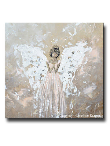 SPECIAL RELEASE GICLEE PRINT Abstract Angel Painting Art Praying Angel White Grey Cream Pink Wall Decor