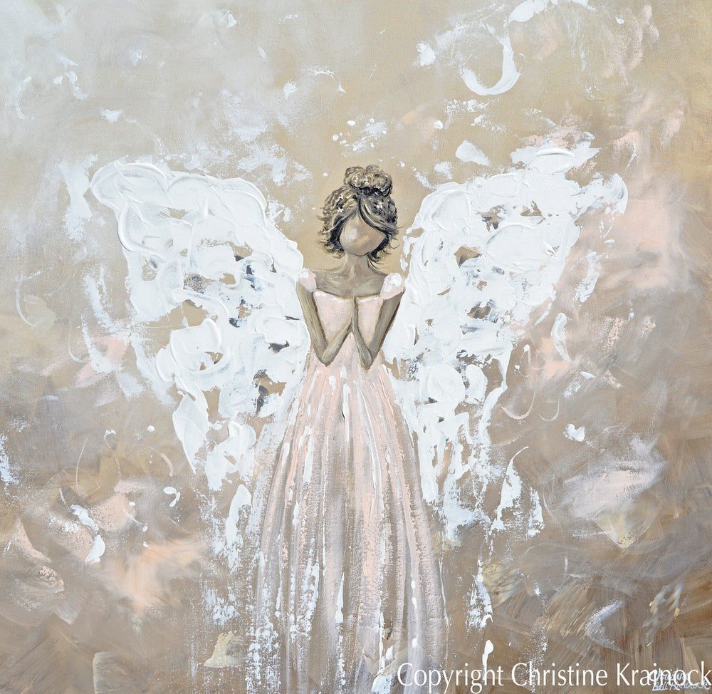 ORIGINAL Abstract Angel Painting Art Praying Angel White Grey Cream Pink Home Wall Decor 36x36""