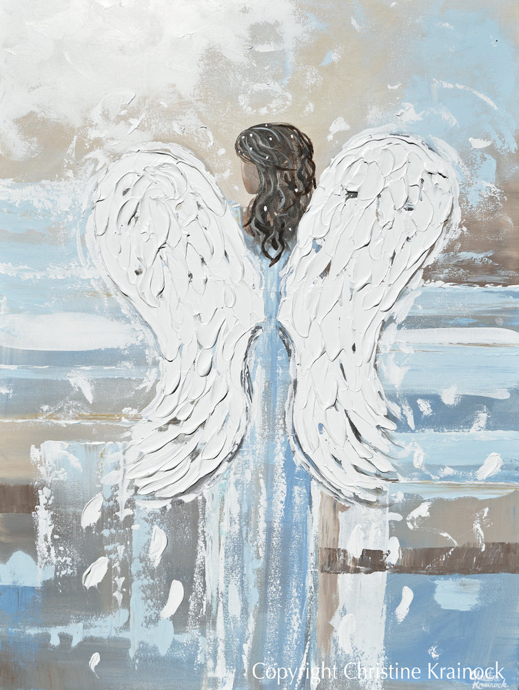 ORIGINAL Abstract Angel Painting Spiritual Art Textured Wings of Grace Blue Grey Home Wall Decor XL 36x48""