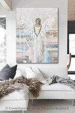 ORIGINAL Abstract Angel Painting Textured Guardian Angel White Grey Blue Pink Home Wall Decor 30x40""