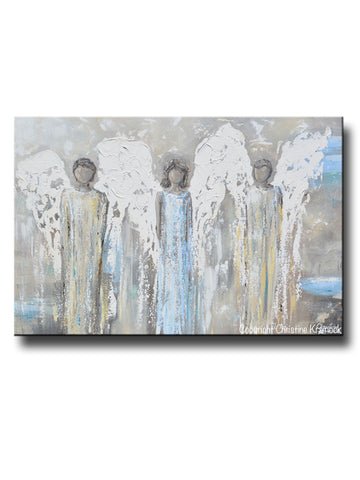 ORIGINAL Angel Painting Abstract 3 Angels Guardian Textured Grey Gold Home Decor Wall Art 36x24""