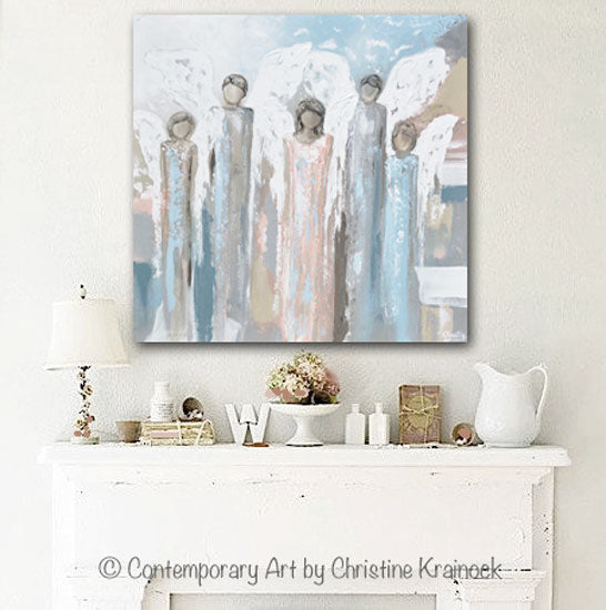 GICLEE PRINT Art Angels Painting Fine Art Abstract Five Angels Grey White Beige Blue Home Wall Decor