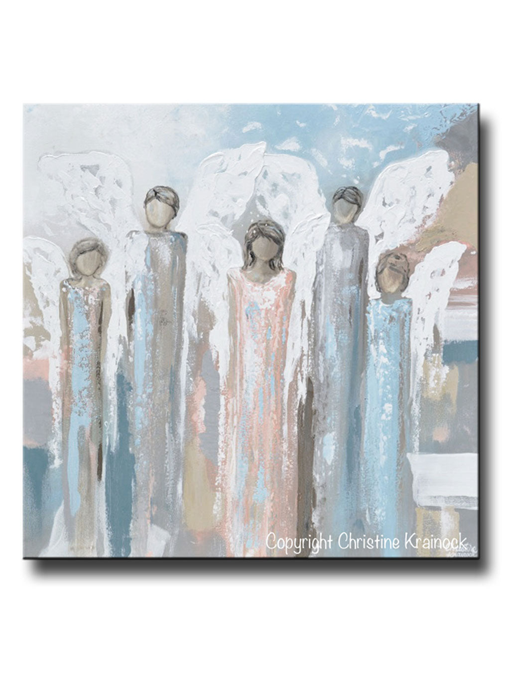 Original Abstract Angel Painting 5 Guardian Angels Home