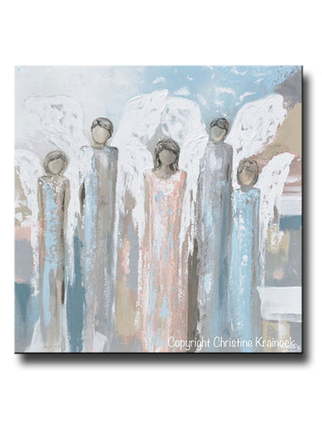 GICLEE PRINT Art Angels Painting Fine Art Abstract Five Angels Grey White Beige Blue Pink Modern Farmhouse Home Wall Decor
