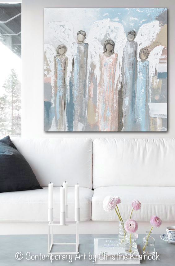 ORIGINAL Art Angels Painting Fine Art Abstract Five Angels Grey White Beige Blue Pink Modern Home Wall Decor X Large 36x36""