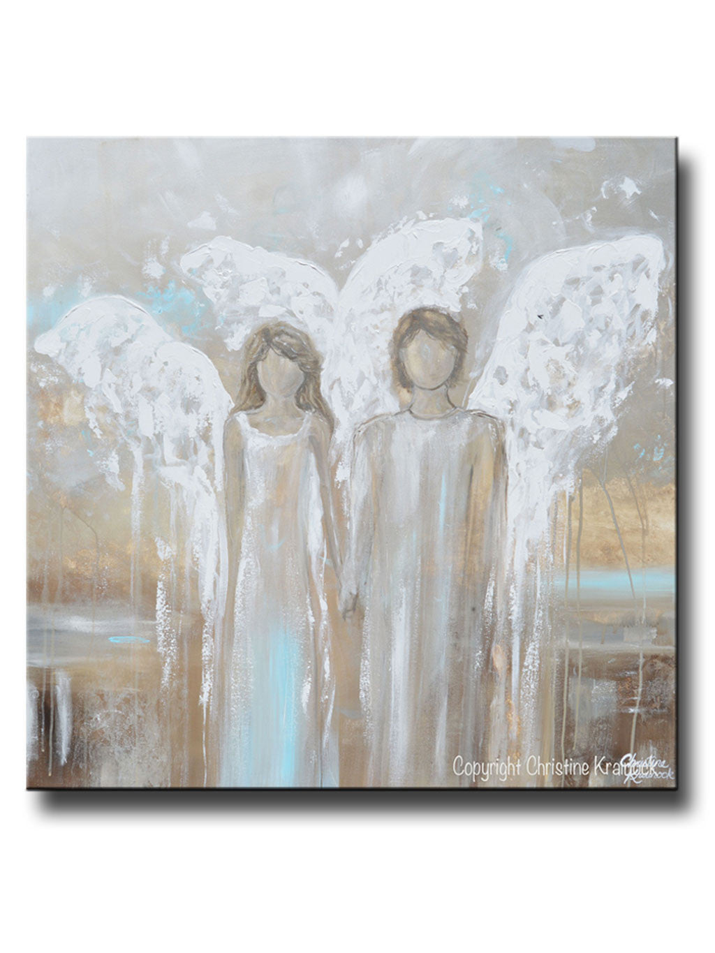 ORIGINAL Abstract Angel Painting Pair of 2 Angels Holding Hands Grey White  Blue Neutral Home Wall