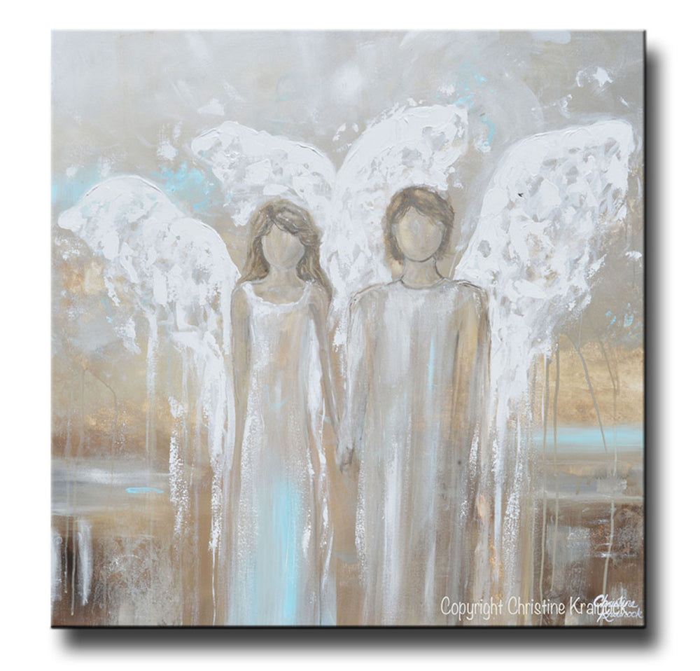GICLEE PRINT Abstract Angel Painting Pair of 2 Angels Holding Hands Grey White Blue Home Wall Art