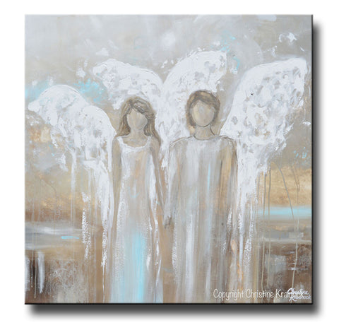 Neutral Wall Decor abstract angel painting canvas art 2 guardian angels wall art