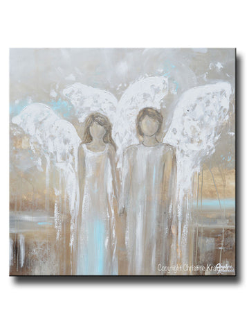 ORIGINAL Abstract Angel Painting Pair of 2 Angels Holding Hands Grey White Blue Neutral Home Wall Art X-Large 36x36""