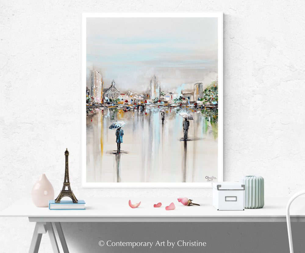 """A Moment in Time"" GICLEE PRINT Art Abstract Painting Cityscape Horizon Modern Figurative Umbrellas"