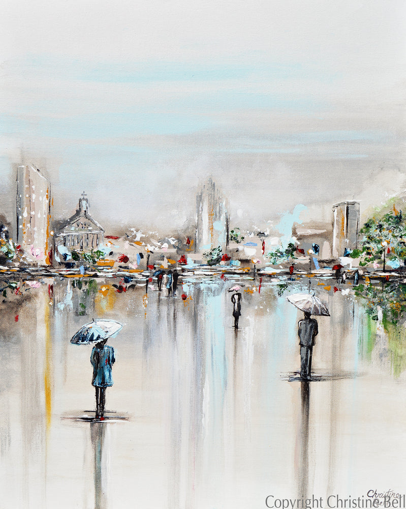 """A Moment in Time"" ORIGINAL Art Abstract Painting Cityscape Horizon Modern Figurative Umbrellas 24x30"""