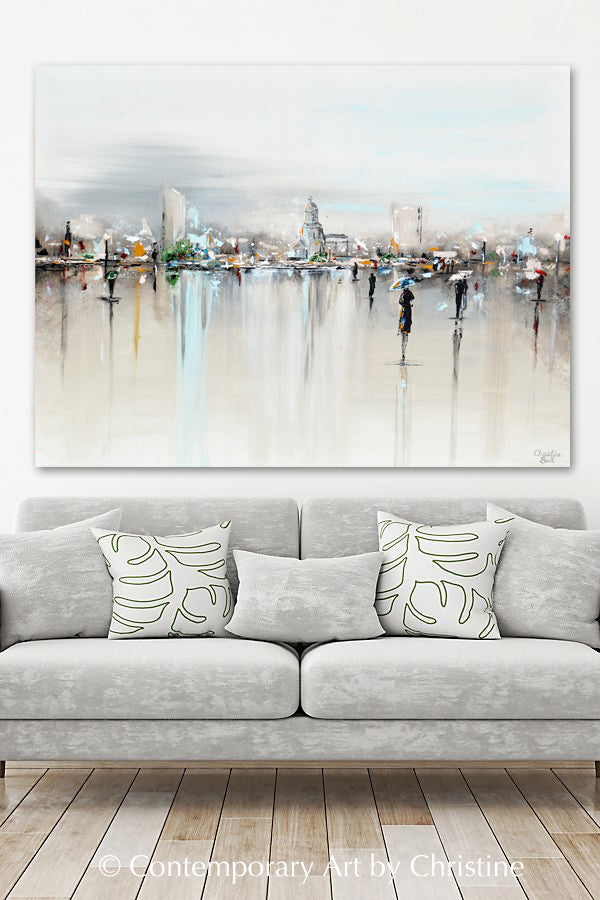 """The Piazza"" GICLEE PRINT Art Abstract Painting Cityscape Horizon Modern Figurative Umbrellas"