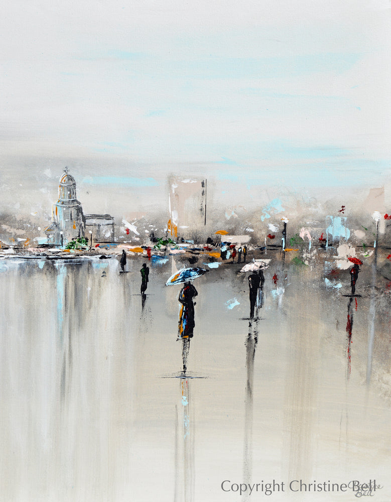 """The Piazza"" ORIGINAL Art Abstract Painting Cityscape Horizon Modern Figurative Umbrellas 40x30"""