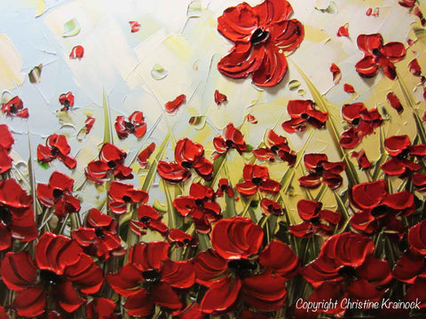 ORIGINAL Art Abstract Painting Red Flowers Poppy Large ...